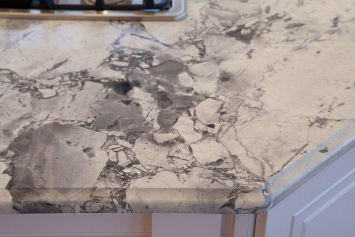 Granite countertop - with grey lines and white foundation
