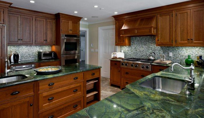 Green Granite Countertop In Traditional Kitchen