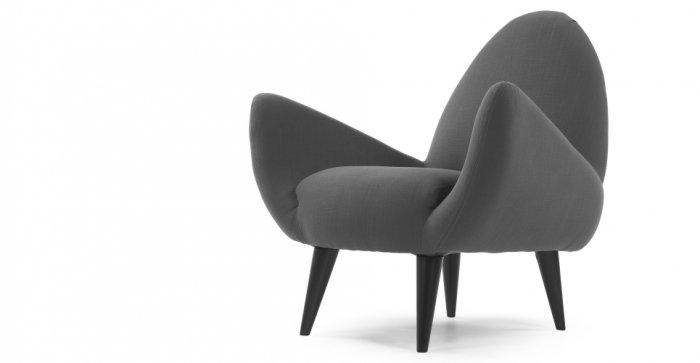 Grey designer armchair - with modern design