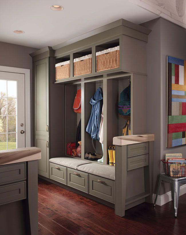 Grey shelves with baskets and hoooks - for rain coats