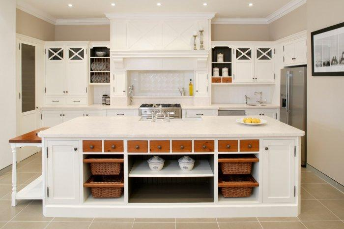 Kitchen island with shelves with baskets for storage - for kitchenware and flatware