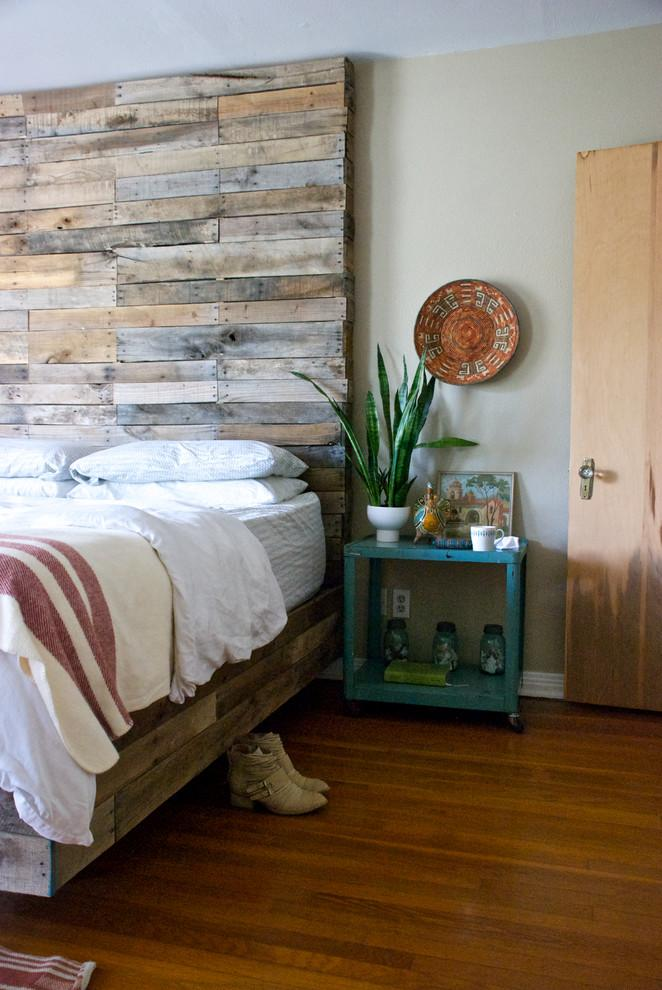 Large pallet headboard - in a rustic bedroom