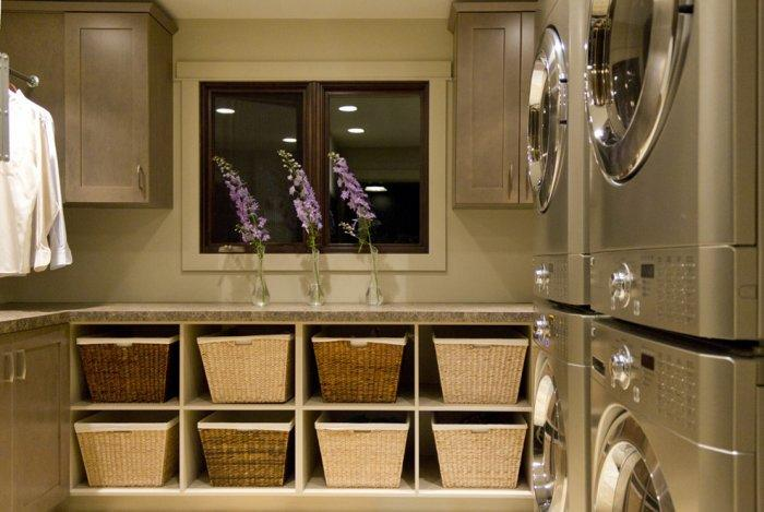 Laundry shelves with baskets for storage - in a contemporary room