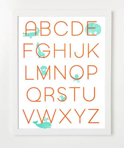 Letterpress Alphabet Art Print By SYCAMORE STREET PRESS - for baby shower