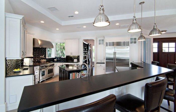 Luxurious black granite countertop - in a contemporary kitchen