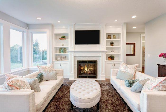 luxurious den room with white couches - White Couches