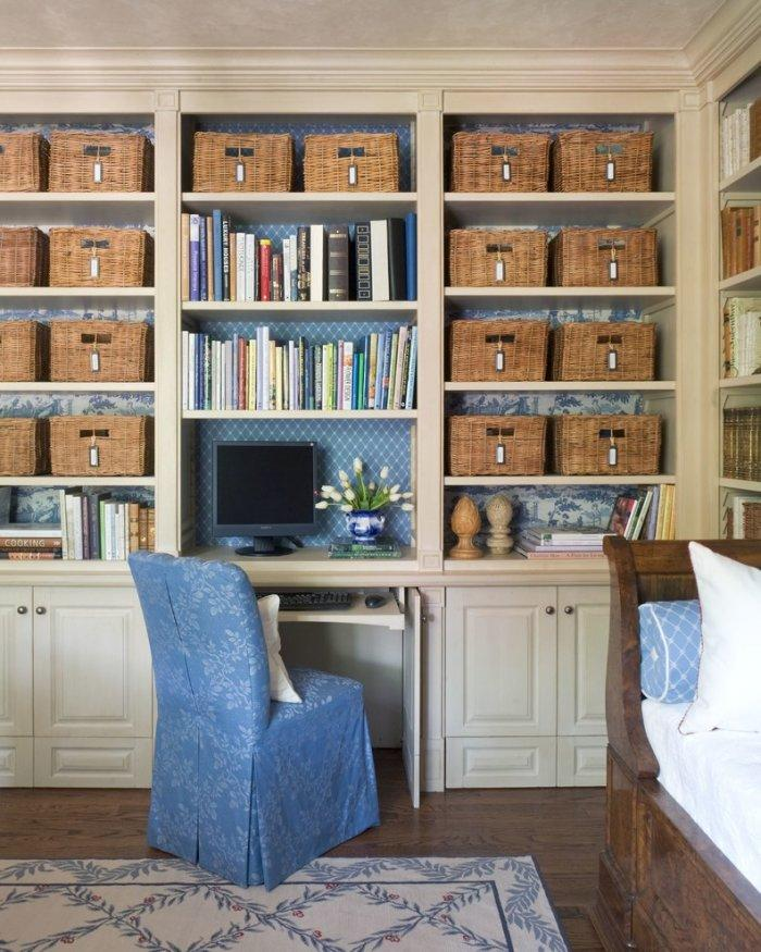 Mediterranean shelves with baskets for storage - in a home office