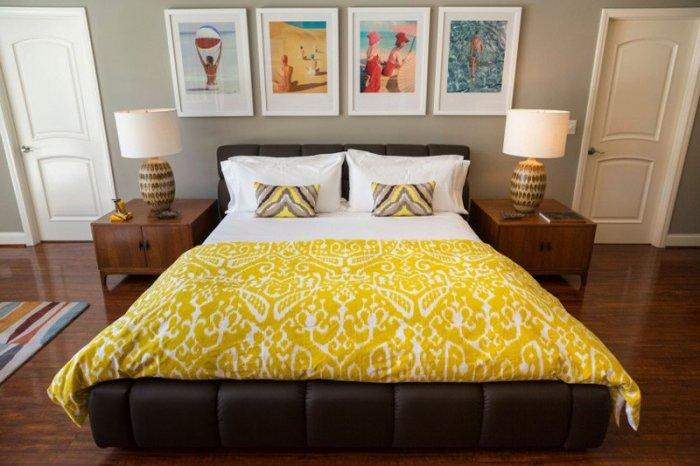 Mid-century modern bedroom - with yellow sheets