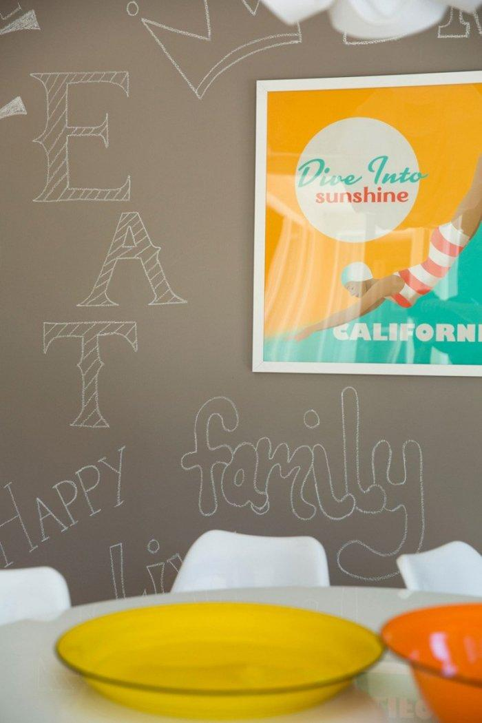 Mid-century modern dining room - with chalkboard paint