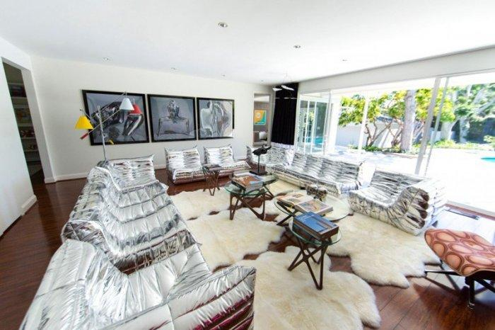 Mid-century modern residence - with silver sofas
