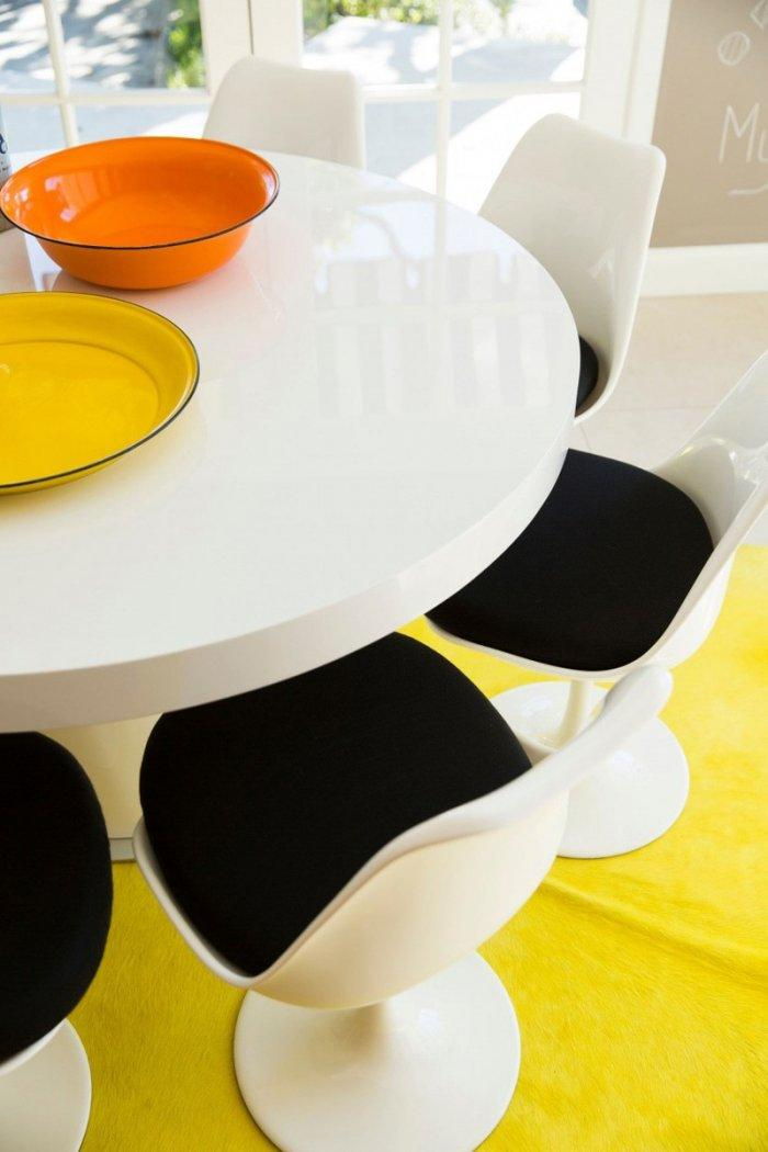 Mid-century modern table - with colorful rug