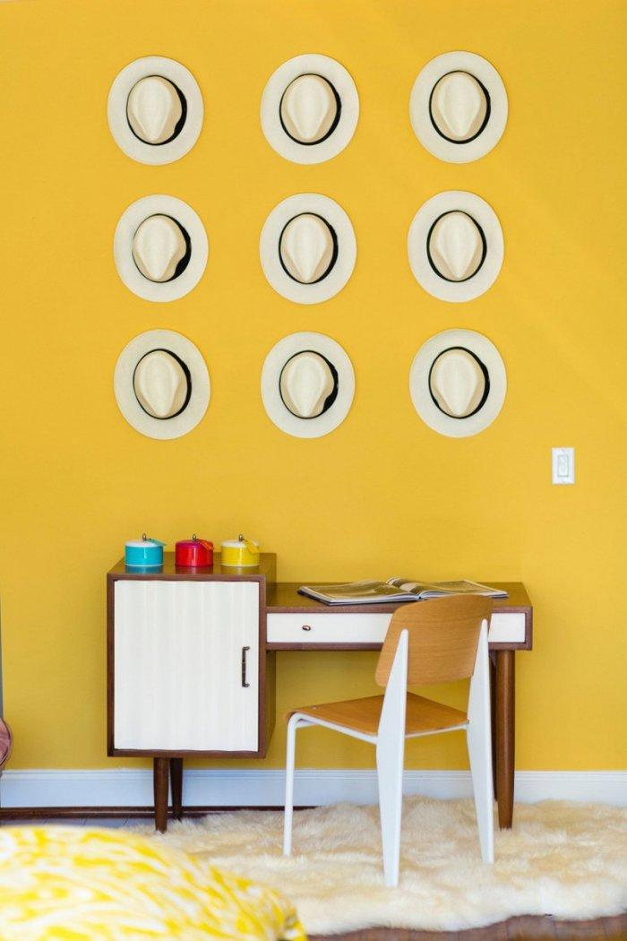 Mid-century modern wall - with yellow paint