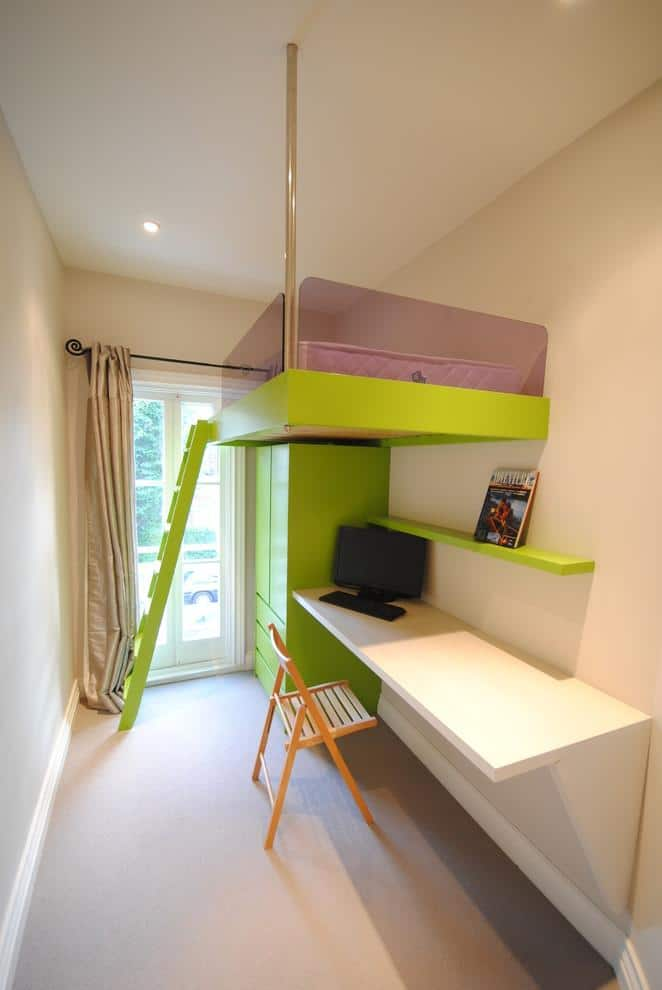 Minimalist loft bed - with green stairs