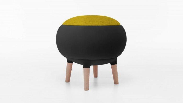 Modern black stool - with green seat