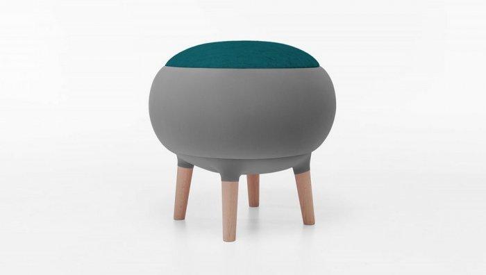Modern grey stool - with dark green seat