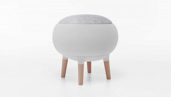 Modern white stool - with grey seat