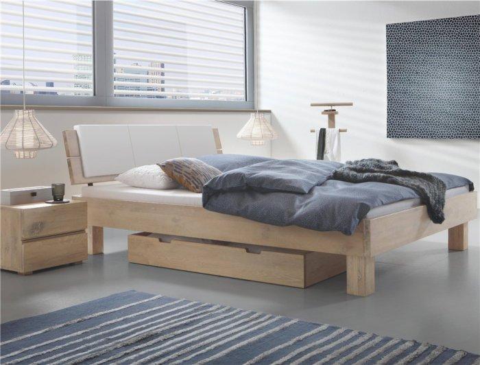 Natural colored designer bed - with wooden frame