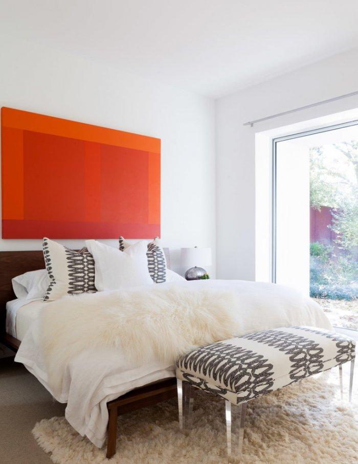 Orange bedroom art - in a cozy bedroom