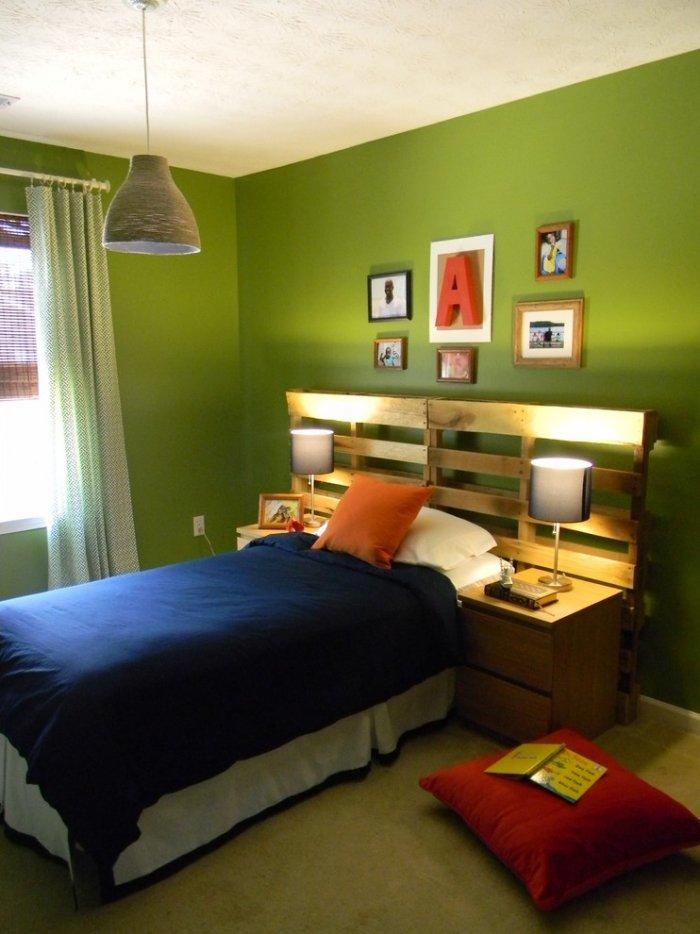 Pale pallet headboard - in green bedroom