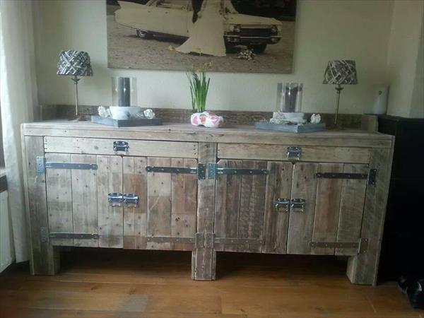 Pallet furniture - kitchen cabinets - with two sections
