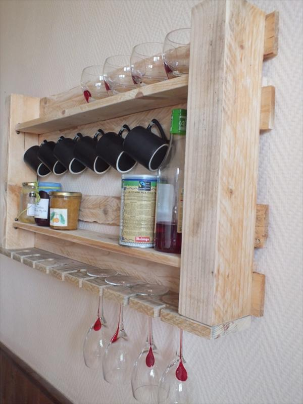 Pallet furniture - rack for kitchen - for storing glasses and spices