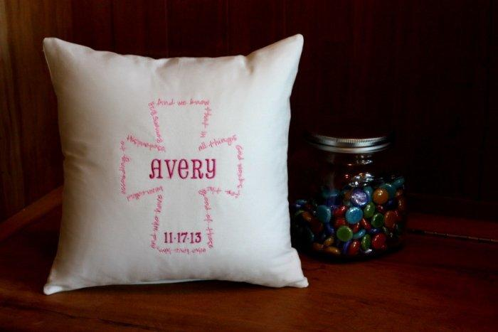 Personalized baby shower cushion - aver baby name