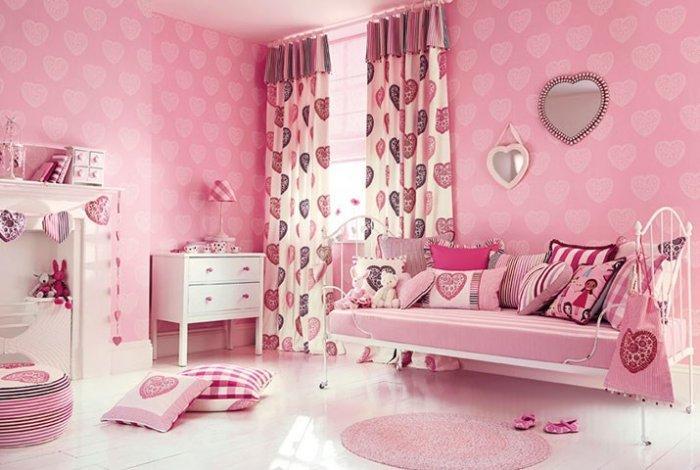 Pink designer textile - for kid's room curtains