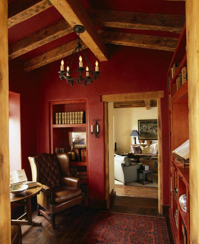 Red den room - with black armchair
