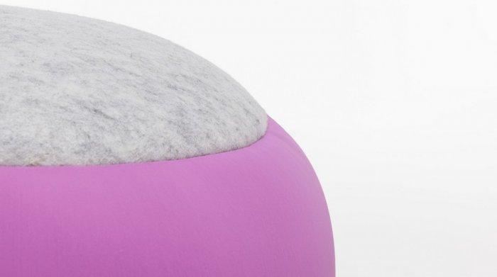 Round stool - with pink and grey