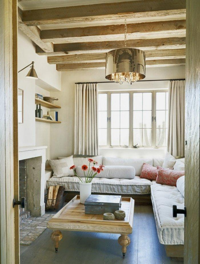 Rustic den room - with barn beams