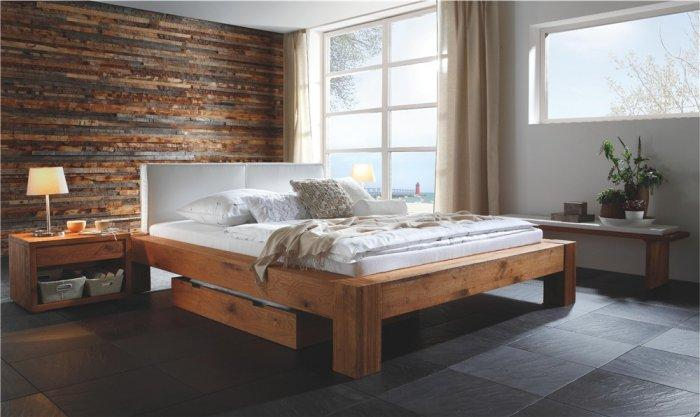Rustic designer bed - with white headboard