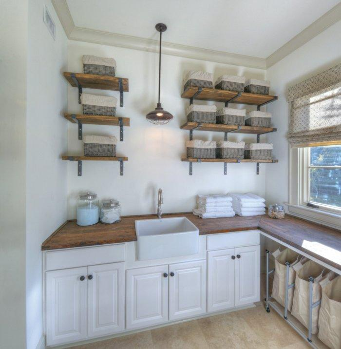 Rustic shelves with baskets for storage - in the laundry