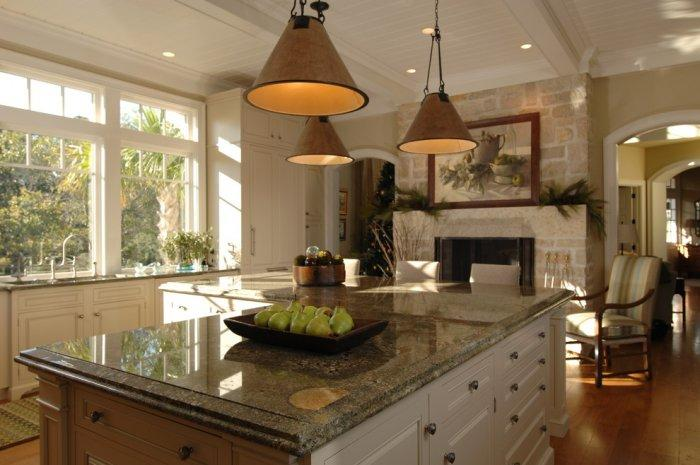 Seafoam Green Granite Countertop - in traditional kitchen