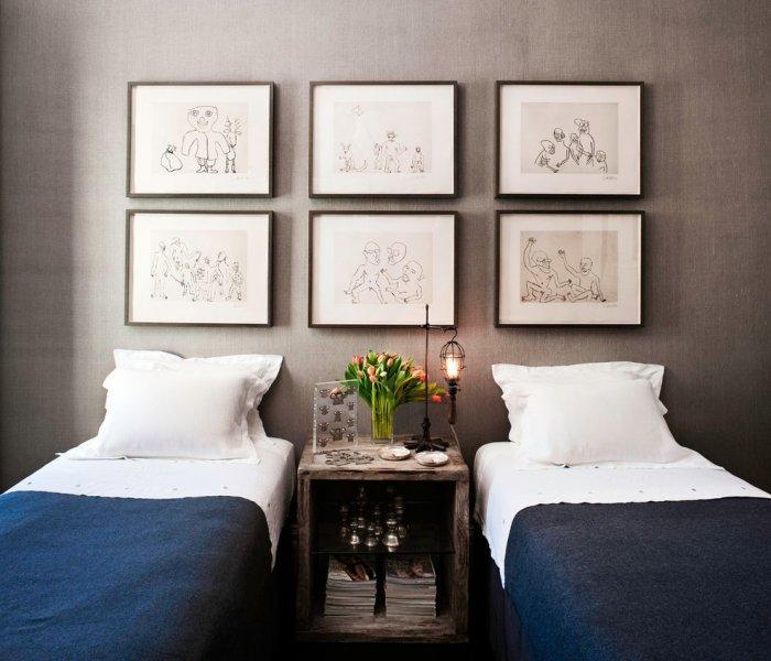 Sketches bedroom art - abstract arrangement