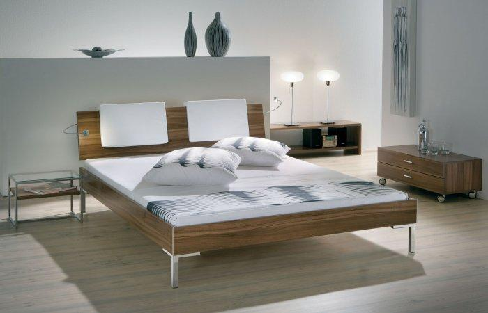 Stylish designer bed - with wooden frame