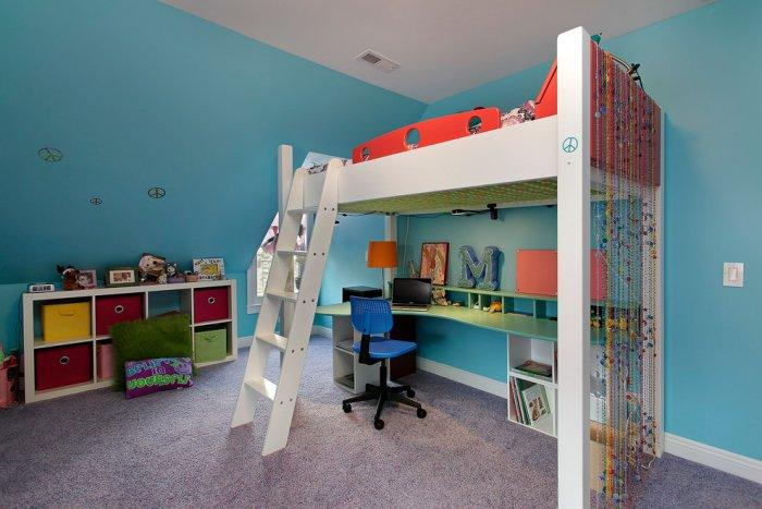 Stylish loft bed - with white ladder