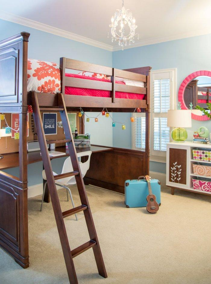 Traditional loft bed - with brown frame