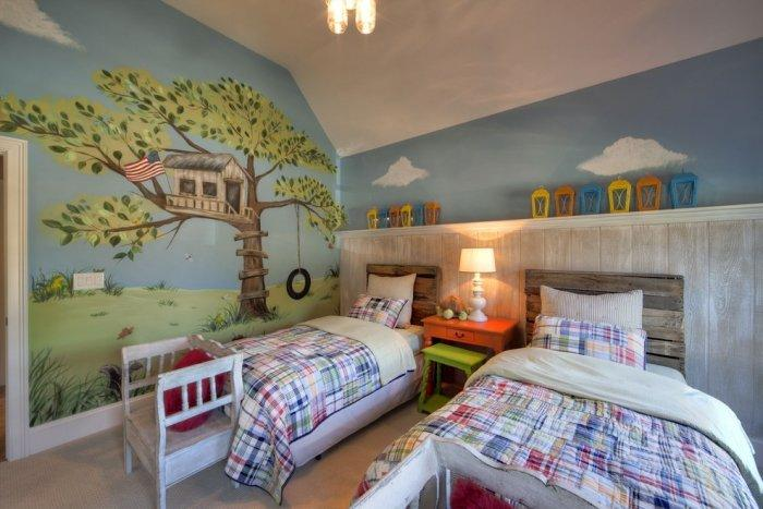 Two pallet headboards - in kids room