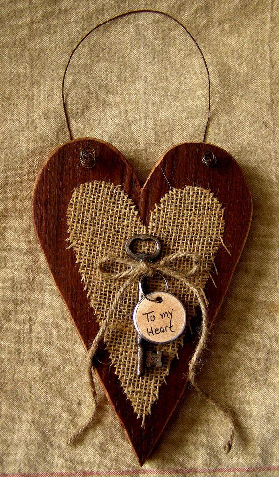Valentine's Day DIY heart - made of wood and burlap