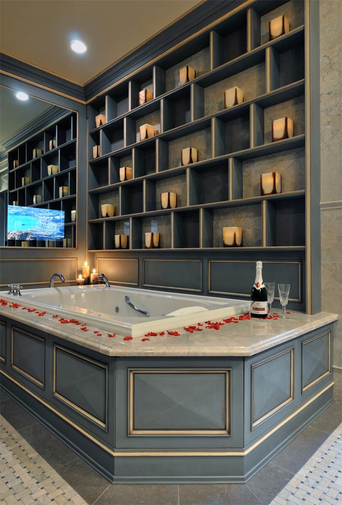 Valentine's day bathroom - with petals and champagne