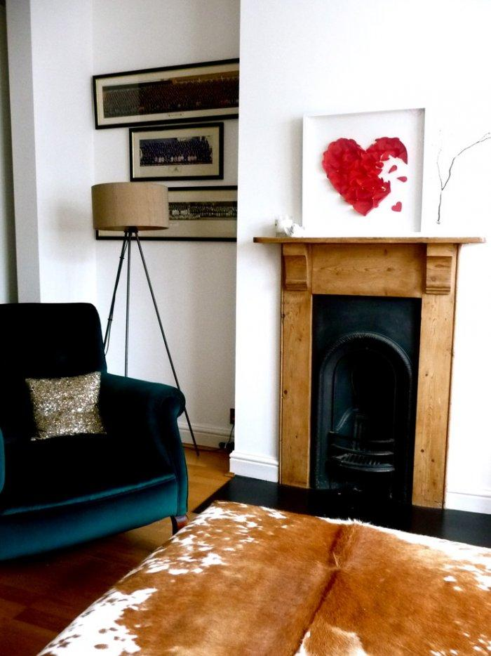 Valentine's day living room - with red heart