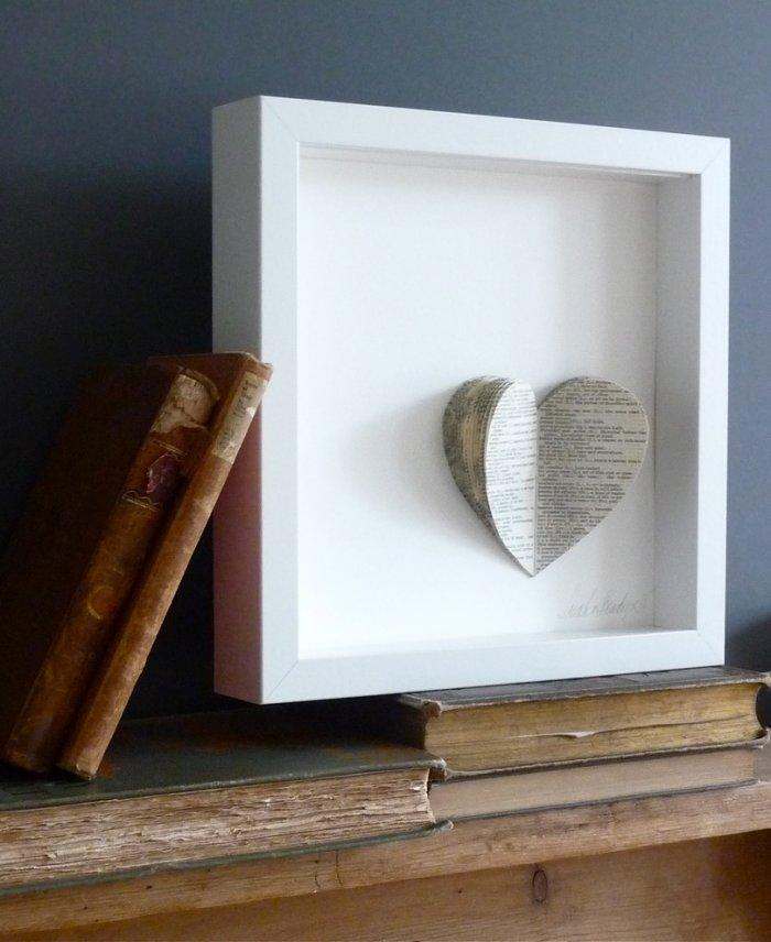 Valentine's day paper heart - in a frame
