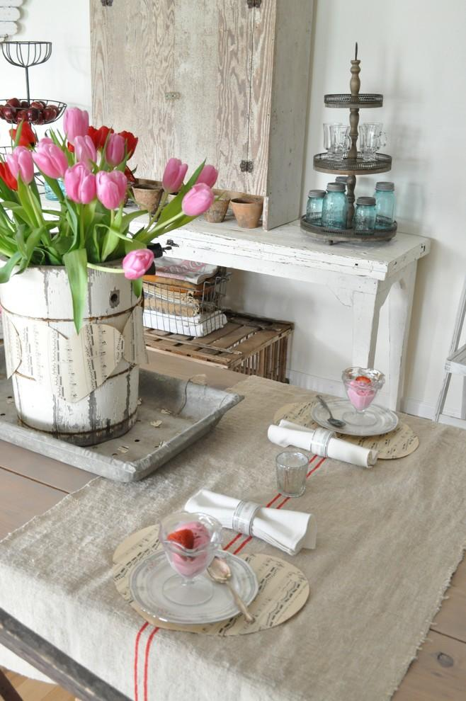Valentine's day vintage table - with flowers