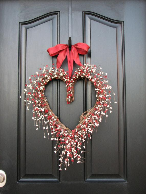 Valentine's day wreath - on the front door