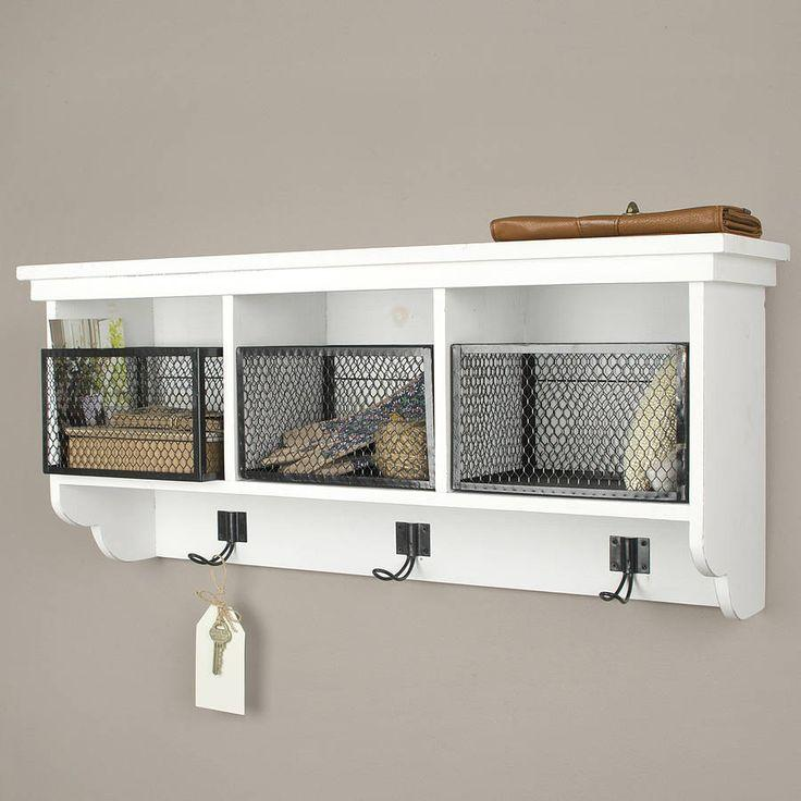 White shelves with baskets and hooks - for clothes