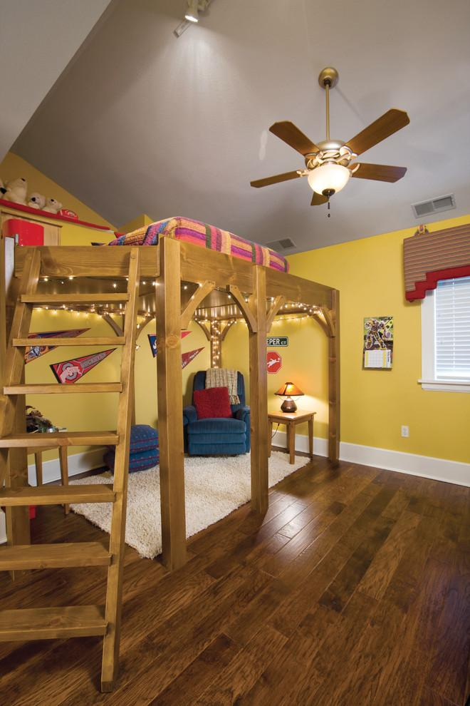 Wooden loft bed - in yellow room