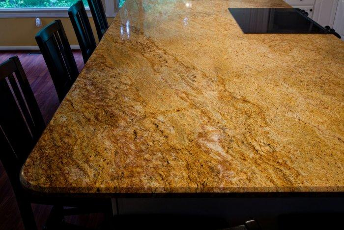 Yellow Granite Countertop   On A Large Kitchen Island