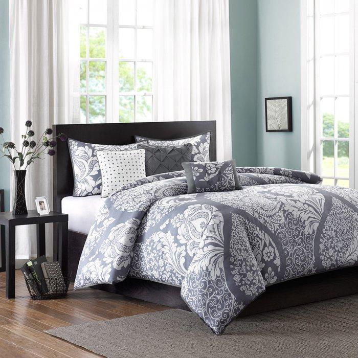 6 piece duvet cover set - in grey color