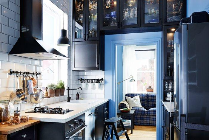 Apartment modern kitchen cabinet - with narrow glass door