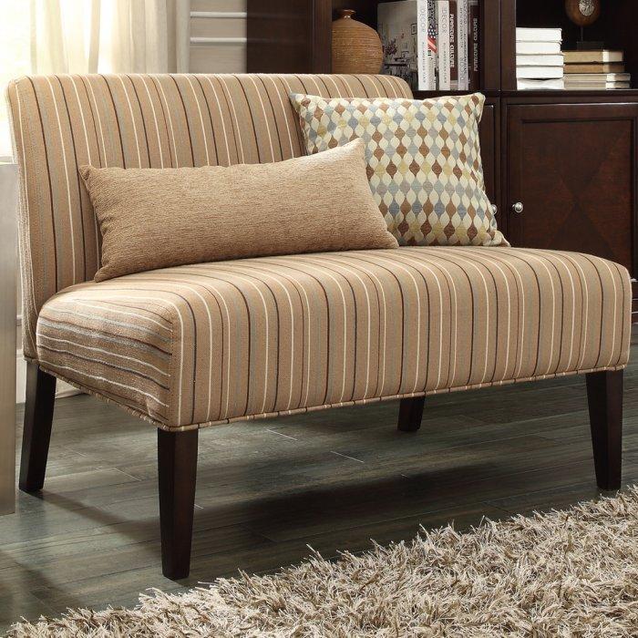 Beige Loveseat Sofa   In A Modern Living Room